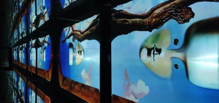 Projection de Apparition d'un visage et d'un compotier sur une plage de Salvador Dalí (1938), pour l'exposition Dalí, L'Énigme sans fin, à L'Atelier des Lumières à Paris (26/06/2021), photo prise par Nicolas Laurent